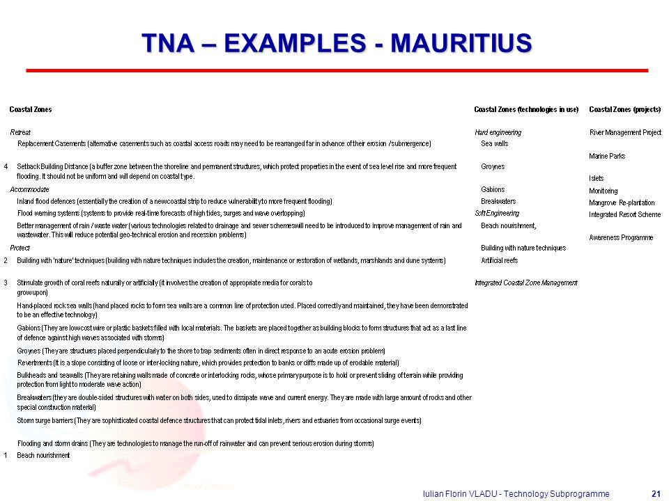 Iulian Florin VLADU - Technology Subprogramme21 TNA – EXAMPLES - MAURITIUS