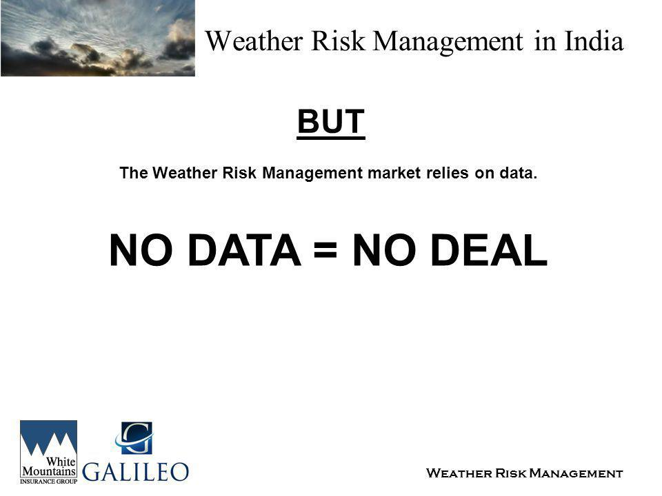 Weather Risk Management Weather Risk Management in India BUT The Weather Risk Management market relies on data.