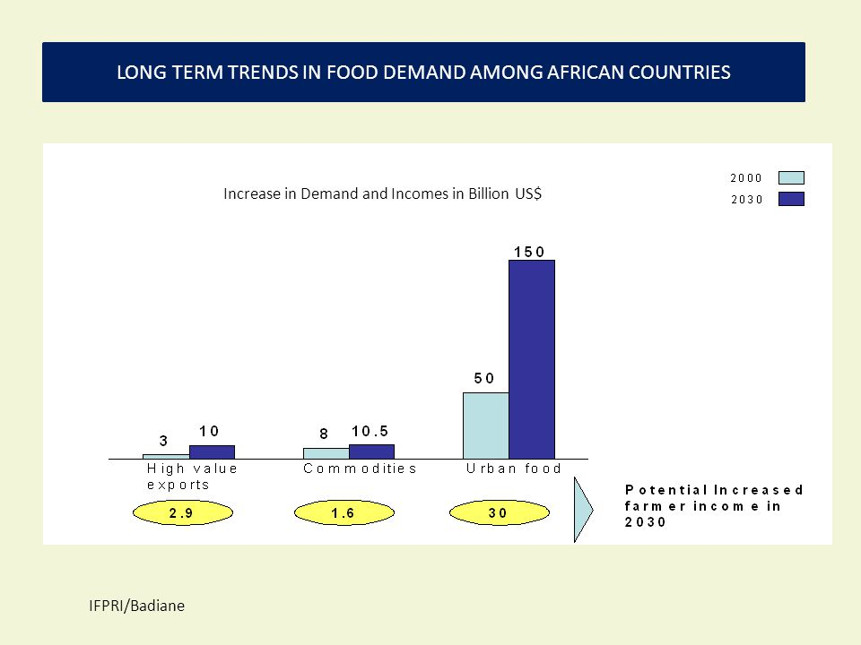 Increase in Demand and Incomes in Billion US$ LONG TERM TRENDS IN FOOD DEMAND AMONG AFRICAN COUNTRIES IFPRI/Badiane