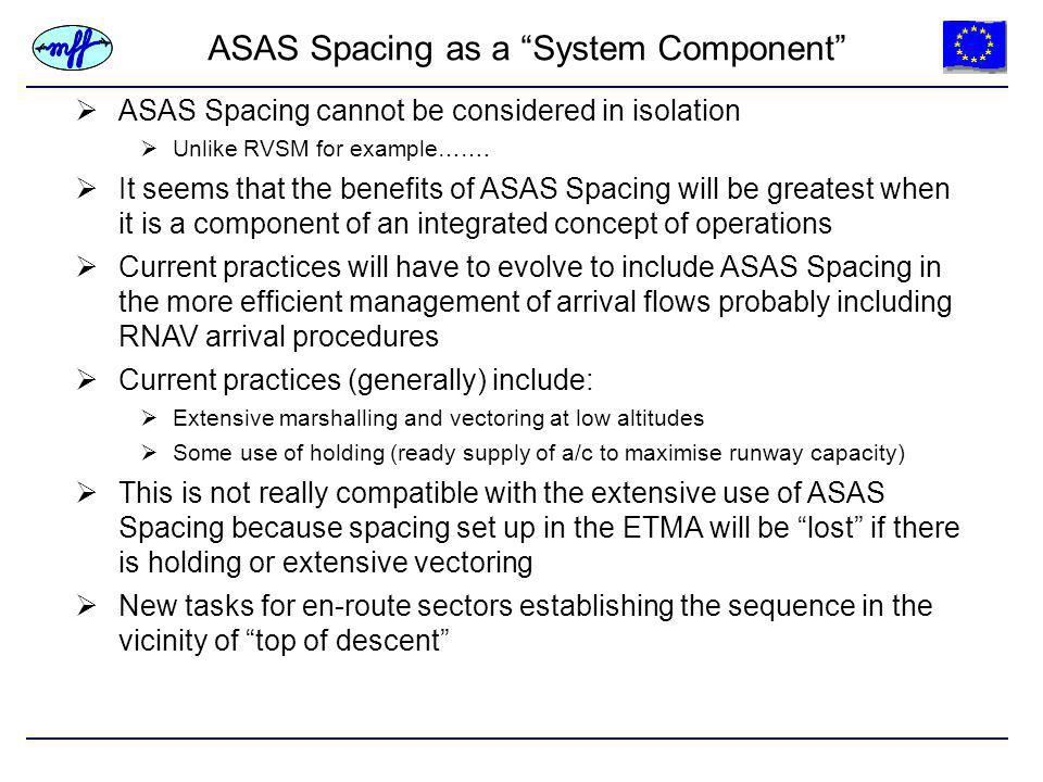 ASAS Spacing as a System Component  ASAS Spacing cannot be considered in isolation  Unlike RVSM for example…….