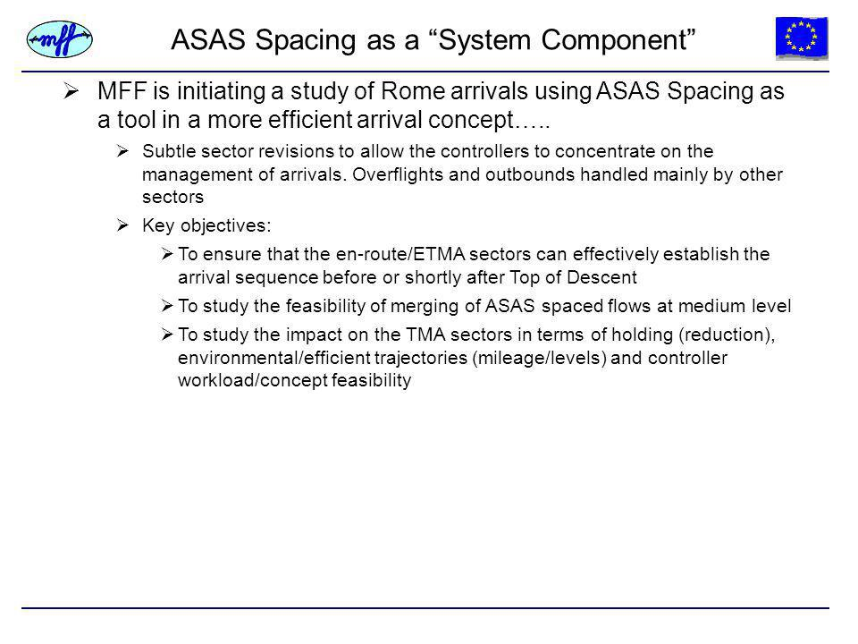 ASAS Spacing as a System Component  MFF is initiating a study of Rome arrivals using ASAS Spacing as a tool in a more efficient arrival concept…..