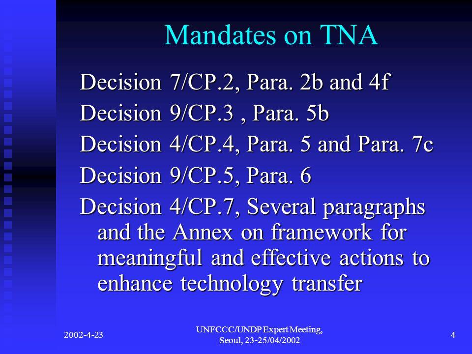 2002-4-23 UNFCCC/UNDP Expert Meeting, Seoul, 23-25/04/2002 4 Mandates on TNA Decision 7/CP.2, Para.