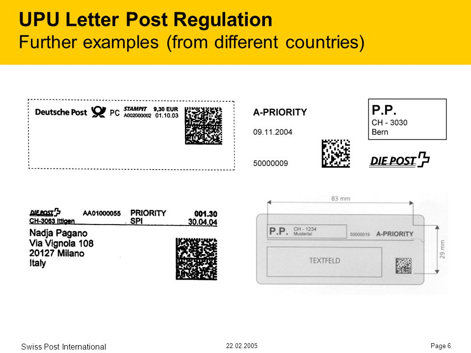 22.02.2005 Swiss Post International Page 6 UPU Letter Post Regulation Further examples (from different countries)