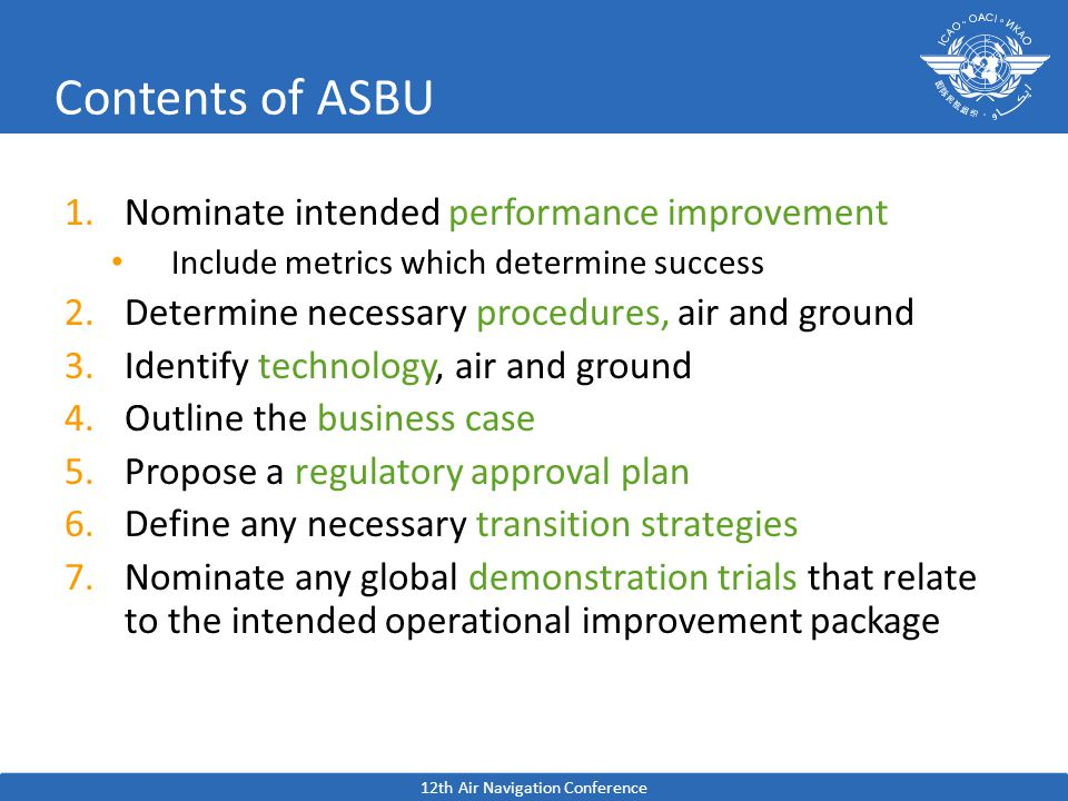 Contents of ASBU 1.Nominate intended performance improvement Include metrics which determine success 2.Determine necessary procedures, air and ground