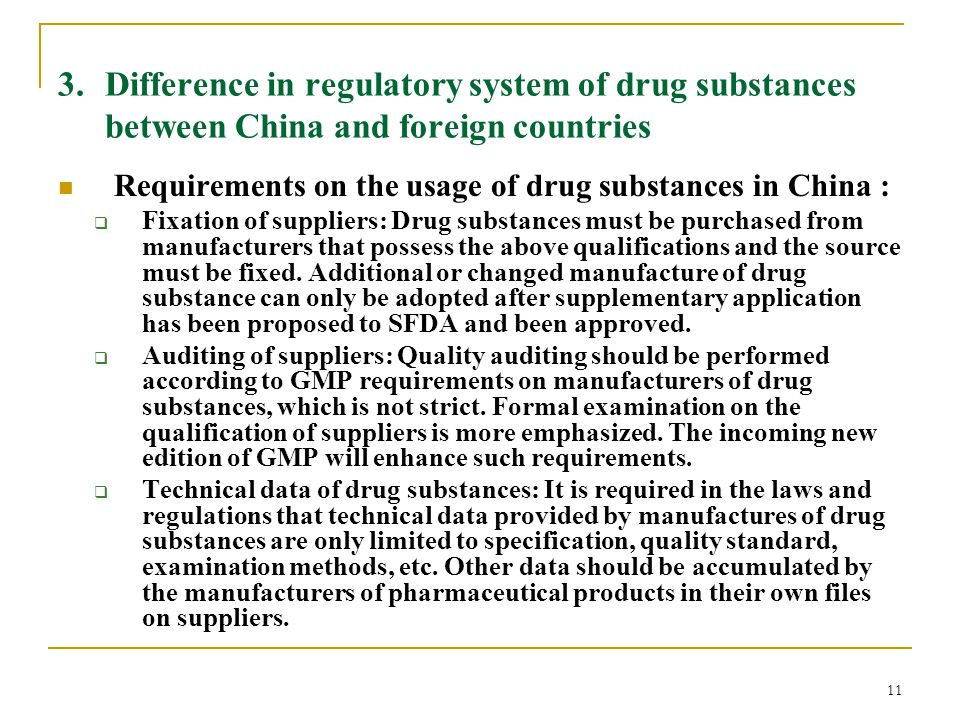 11 3. Difference in regulatory system of drug substances between China and foreign countries Requirements on the usage of drug substances in China : 