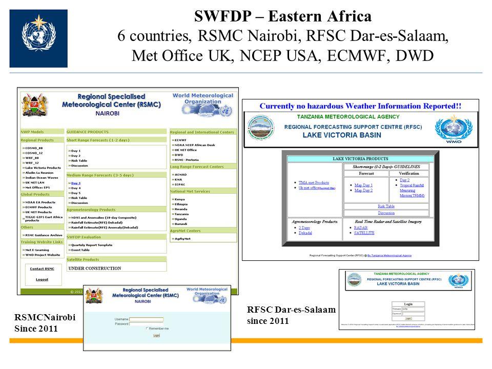 SWFDP – Eastern Africa 6 countries, RSMC Nairobi, RFSC Dar-es-Salaam, Met Office UK, NCEP USA, ECMWF, DWD RSMCNairobi Since 2011 RFSC Dar-es-Salaam since 2011