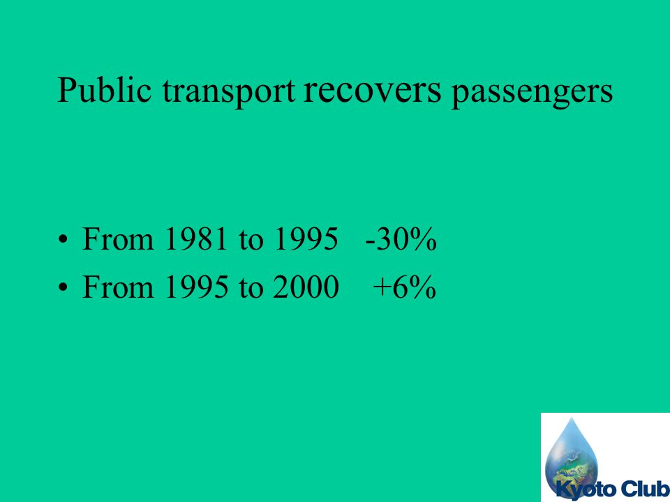 Public transport recovers passengers From 1981 to 1995 -30% From 1995 to 2000 +6%