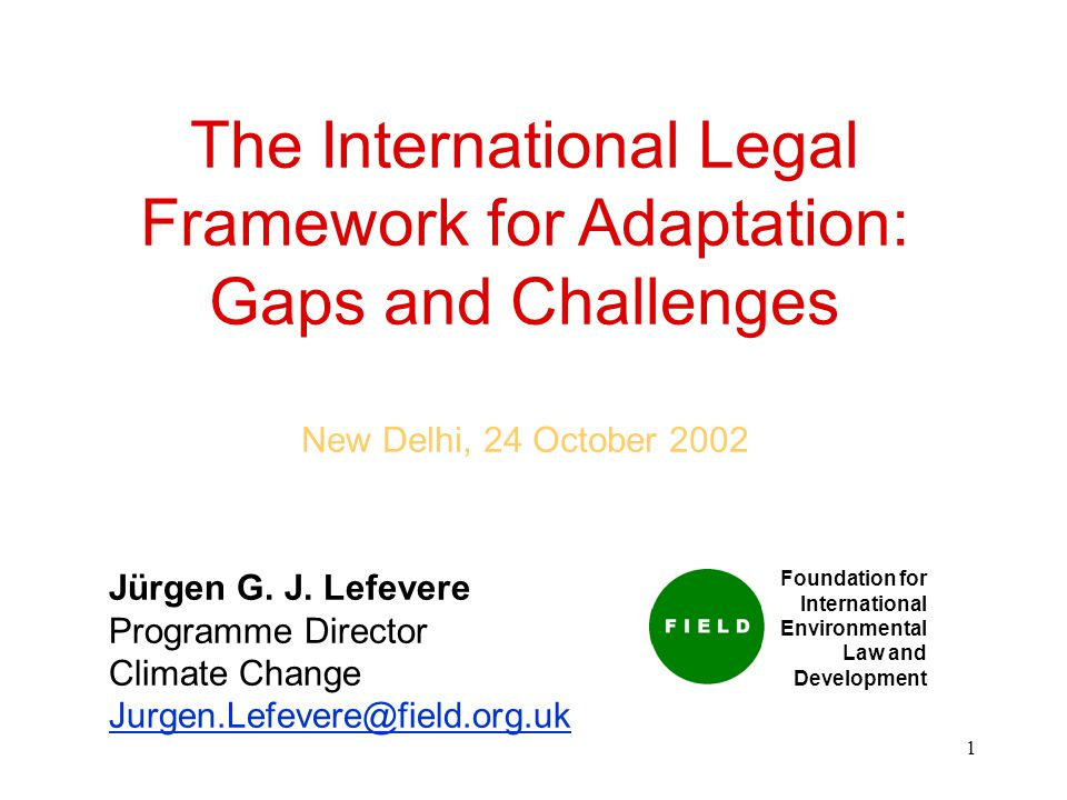 1 The International Legal Framework for Adaptation: Gaps and Challenges New Delhi, 24 October 2002 Jürgen G.