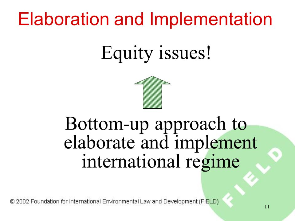11 Elaboration and Implementation Equity issues.
