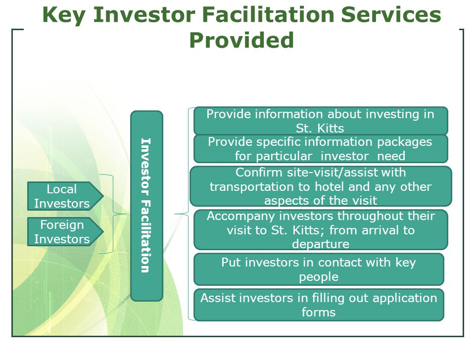 Key Investor Facilitation Services Provided Local Investors Foreign Investors Investor Facilitation Provide information about investing in St.