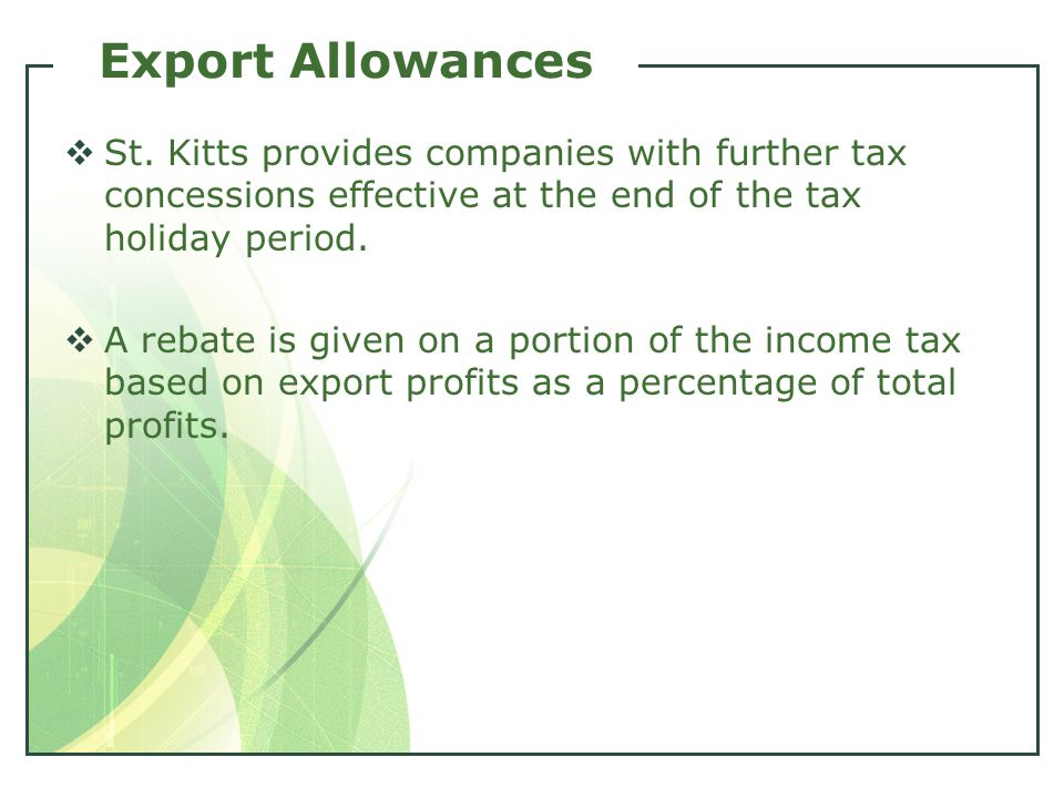 Export Allowances  St.