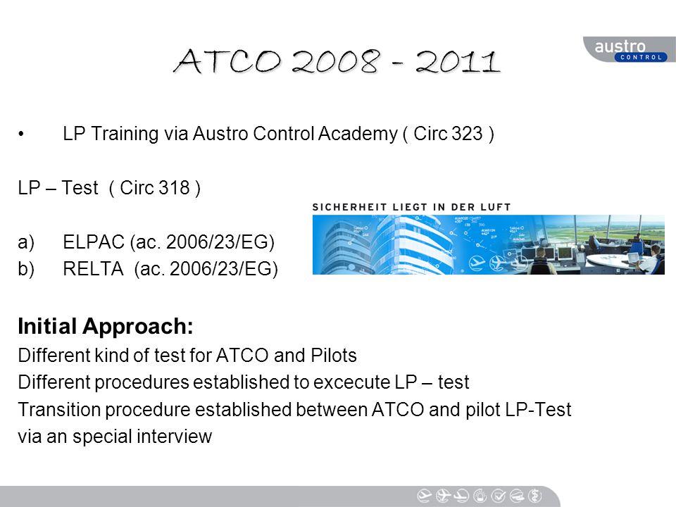 ATCO 2008 - 2011 LP Training via Austro Control Academy ( Circ 323 ) LP – Test ( Circ 318 ) a)ELPAC (ac.