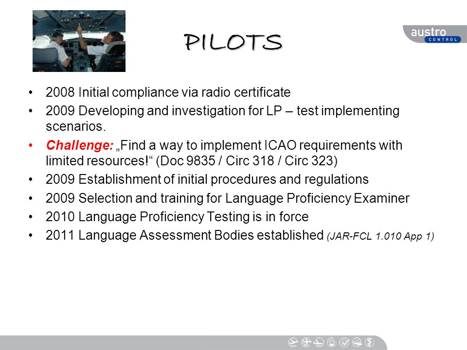 PILOTS 2008 Initial compliance via radio certificate 2009 Developing and investigation for LP – test implementing scenarios.