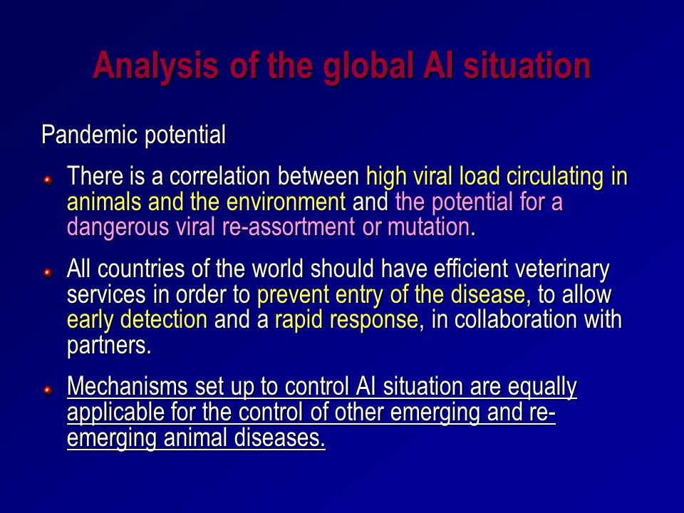 Analysis of the global AI situation Pandemic potential There is a correlation between high viral load circulating in animals and the environment and t
