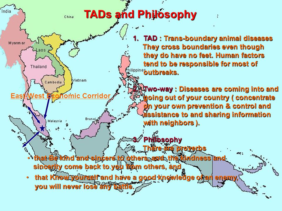 TADs and Philosophy 1.TAD : Trans-boundary animal diseases They cross boundaries even though they do have no feet. Human factors tend to be responsibl