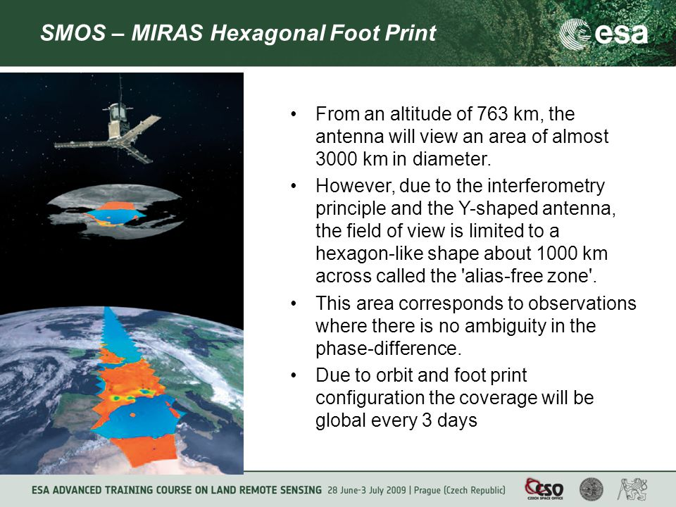 SMOS – MIRAS Hexagonal Foot Print From an altitude of 763 km, the antenna will view an area of almost 3000 km in diameter.