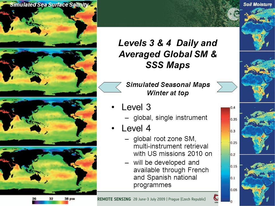 Levels 3 & 4 Daily and Averaged Global SM & SSS Maps Level 3 –global, single instrument Level 4 –global root zone SM, multi-instrument retrieval with US missions 2010 on –will be developed and available through French and Spanish national programmes Simulated Seasonal Maps Winter at top Soil Moisture Simulated Sea Surface Salinity