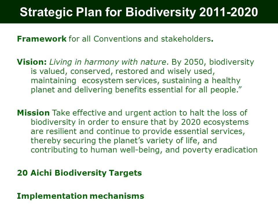 Strategic Plan for Biodiversity 2011-2020 Framework for all Conventions and stakeholders.