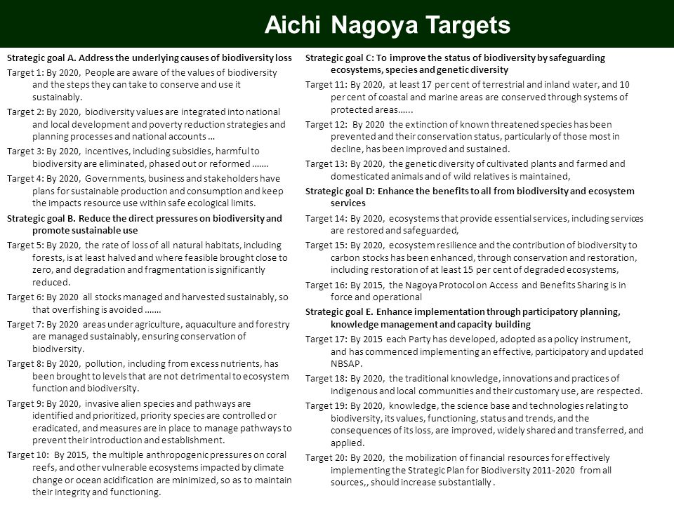 Aichi Nagoya Targets Strategic goal A. Address the underlying causes of biodiversity loss Target 1: By 2020, People are aware of the values of biodive