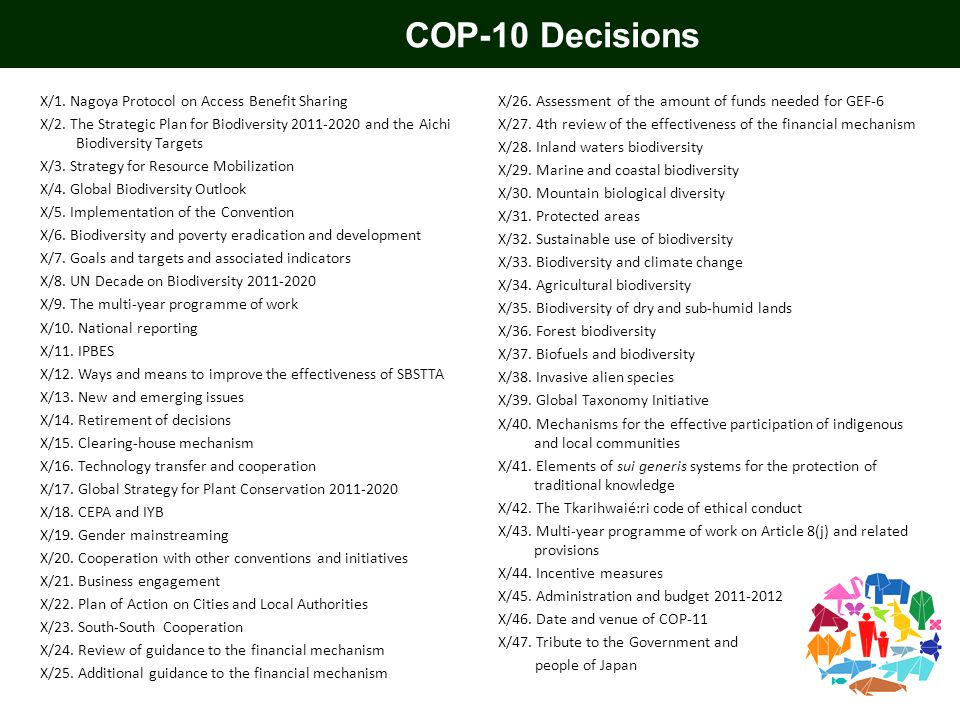 COP-10 Decisions X/1. Nagoya Protocol on Access Benefit Sharing X/2. The Strategic Plan for Biodiversity 2011-2020 and the Aichi Biodiversity Targets