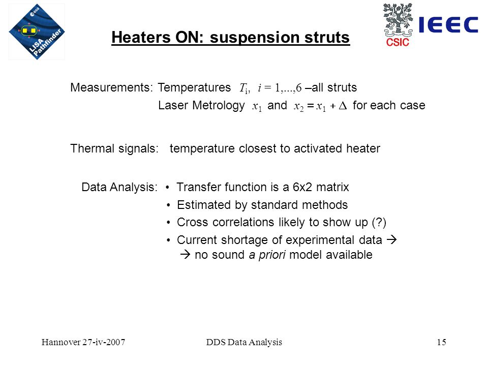 Hannover 27-iv-2007DDS Data Analysis15 Heaters ON: suspension struts Measurements: Temperatures T i, i = 1,...,6 –all struts Laser Metrology x 1 and x 2  x 1  for each case Thermal signals: temperature closest to activated heater Data Analysis: Transfer function is a 6x2 matrix Estimated by standard methods Cross correlations likely to show up ( ) Current shortage of experimental data   no sound a priori model available