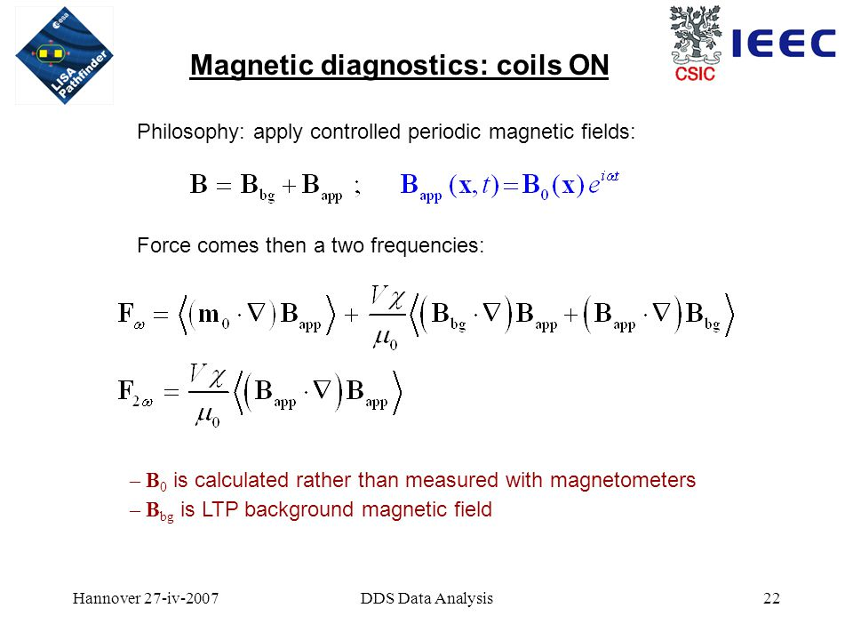 Hannover 27-iv-2007DDS Data Analysis22 Magnetic diagnostics: coils ON Philosophy: apply controlled periodic magnetic fields: Force comes then a two frequencies: – B 0 is calculated rather than measured with magnetometers – B bg is LTP background magnetic field