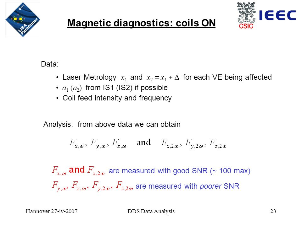 Hannover 27-iv-2007DDS Data Analysis23 Magnetic diagnostics: coils ON Data: Laser Metrology x 1 and x 2  x 1  for each VE being affected a 1 (a 2 ) from IS1 (IS2) if possible Coil feed intensity and frequency Analysis: from above data we can obtain are measured with good SNR (~ 100 max) are measured with poorer SNR