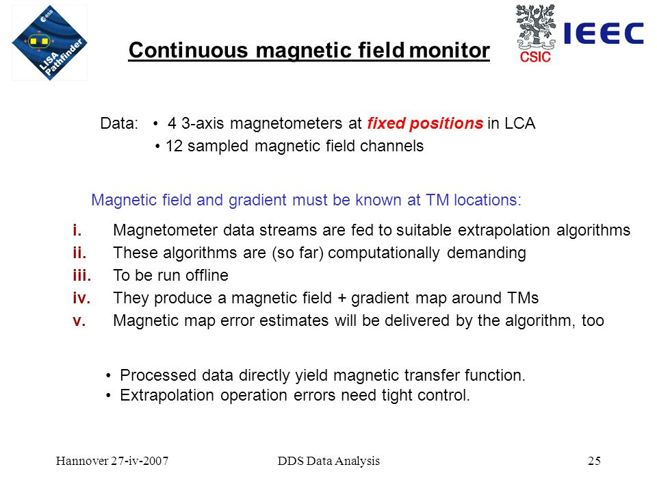 Hannover 27-iv-2007DDS Data Analysis25 Continuous magnetic field monitor Data: 4 3-axis magnetometers at fixed positions in LCA 12 sampled magnetic field channels Magnetic field and gradient must be known at TM locations: i.