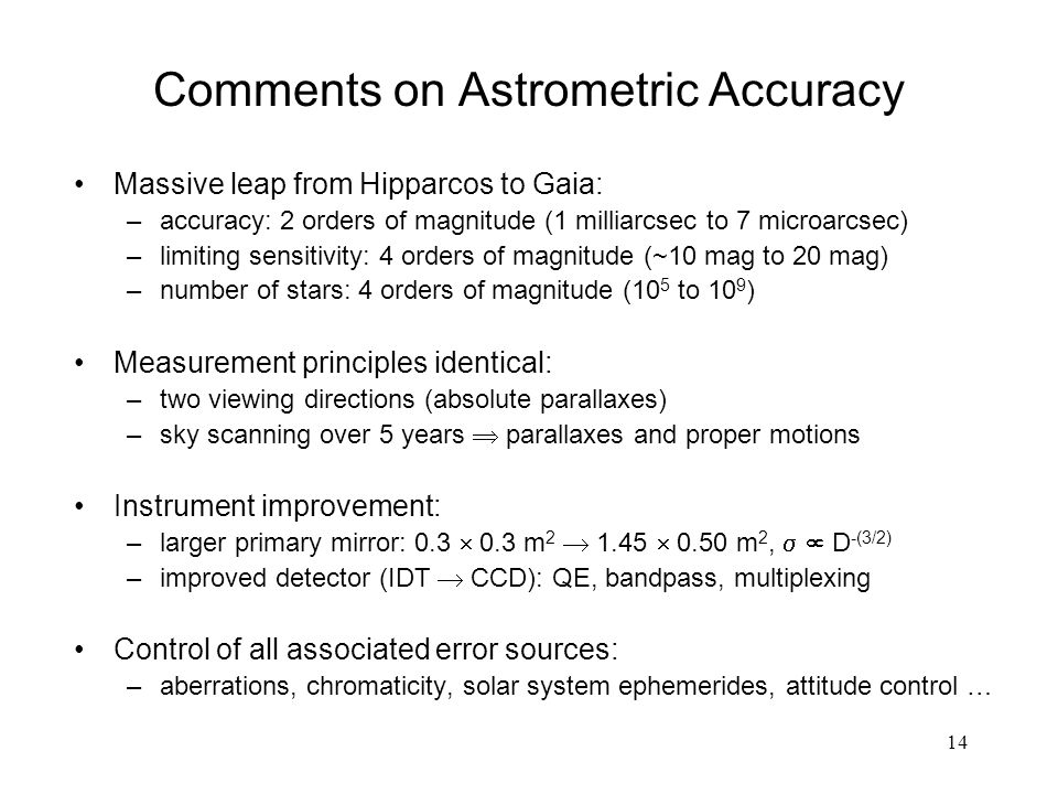 14 Comments on Astrometric Accuracy Massive leap from Hipparcos to Gaia: –accuracy: 2 orders of magnitude (1 milliarcsec to 7 microarcsec) –limiting sensitivity: 4 orders of magnitude (~10 mag to 20 mag) –number of stars: 4 orders of magnitude (10 5 to 10 9 ) Measurement principles identical: –two viewing directions (absolute parallaxes) –sky scanning over 5 years  parallaxes and proper motions Instrument improvement: –larger primary mirror: 0.3  0.3 m 2  1.45  0.50 m 2,   D -(3/2) –improved detector (IDT  CCD): QE, bandpass, multiplexing Control of all associated error sources: –aberrations, chromaticity, solar system ephemerides, attitude control …