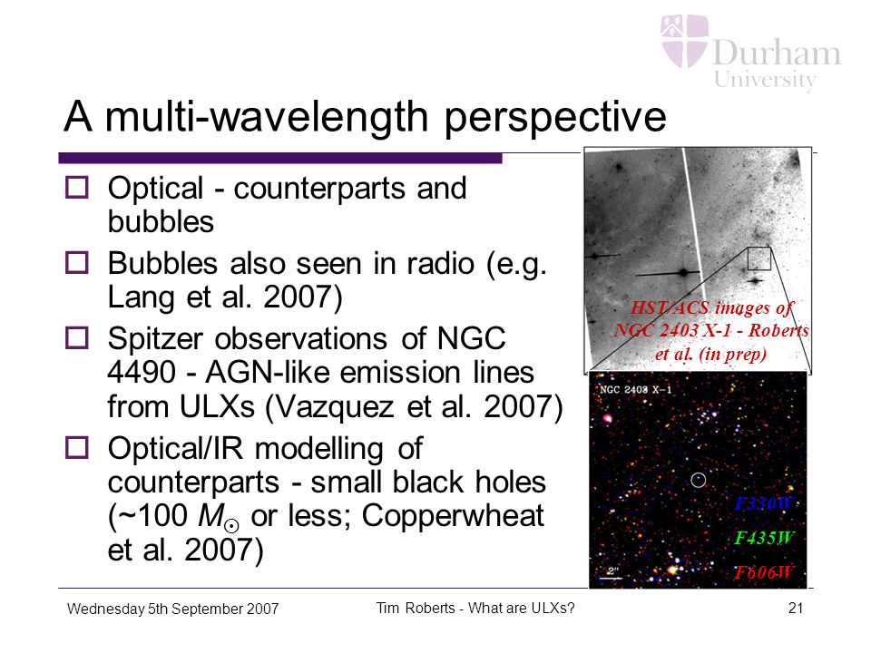 Wednesday 5th September 2007 Tim Roberts - What are ULXs 21 A multi-wavelength perspective  Optical - counterparts and bubbles  Bubbles also seen in radio (e.g.