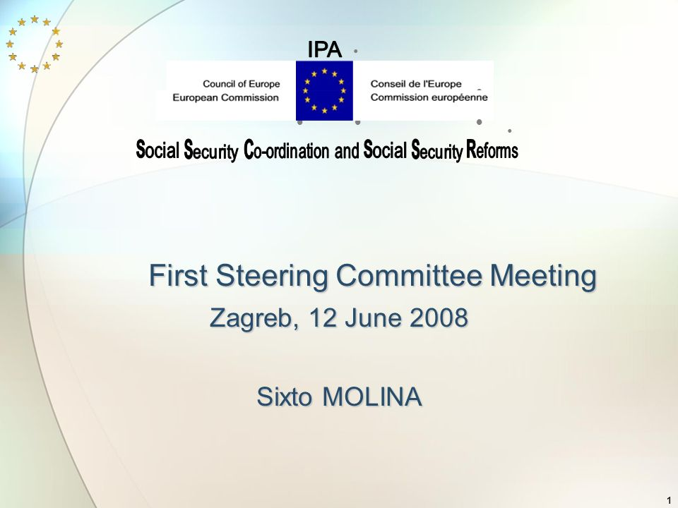 1 First Steering Committee Meeting Zagreb, 12 June 2008 Sixto MOLINA