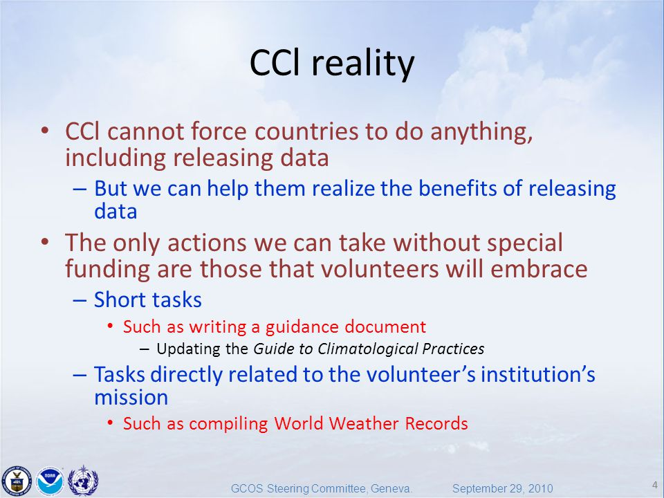 4 GCOS Steering Committee, Geneva.