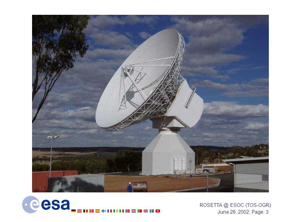 June 26, 2002; Page: 3 ROSETTA @ ESOC (TOS-OGR)