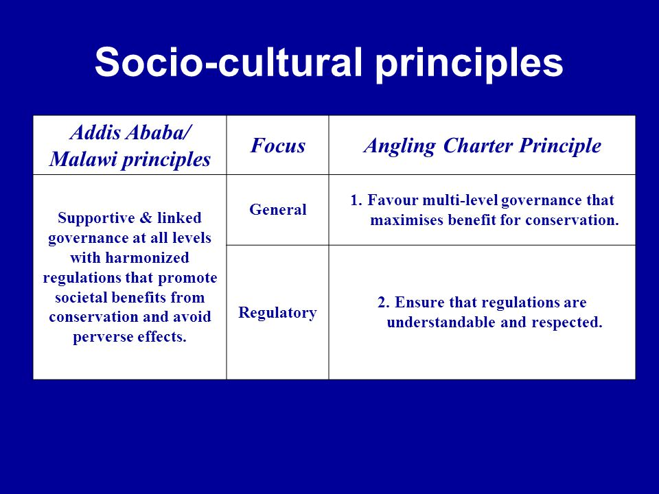 Socio-cultural principles Addis Ababa/ Malawi principles FocusAngling Charter Principle Supportive & linked governance at all levels with harmonized regulations that promote societal benefits from conservation and avoid perverse effects.