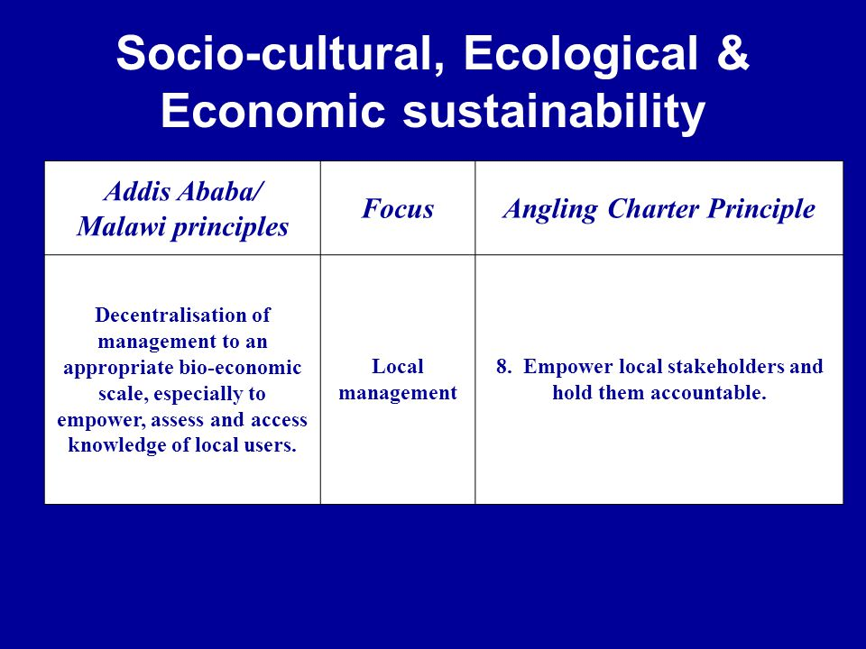 Socio-cultural, Ecological & Economic sustainability Addis Ababa/ Malawi principles FocusAngling Charter Principle Decentralisation of management to an appropriate bio-economic scale, especially to empower, assess and access knowledge of local users.