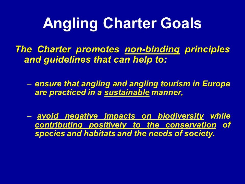 Angling Charter Goals The Charter promotes non-binding principles and guidelines that can help to: –ensure that angling and angling tourism in Europe are practiced in a sustainable manner, – avoid negative impacts on biodiversity while contributing positively to the conservation of species and habitats and the needs of society.