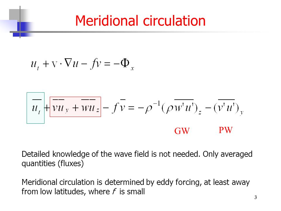 3 Meridional circulation 3 PW GW Detailed knowledge of the wave field is not needed.