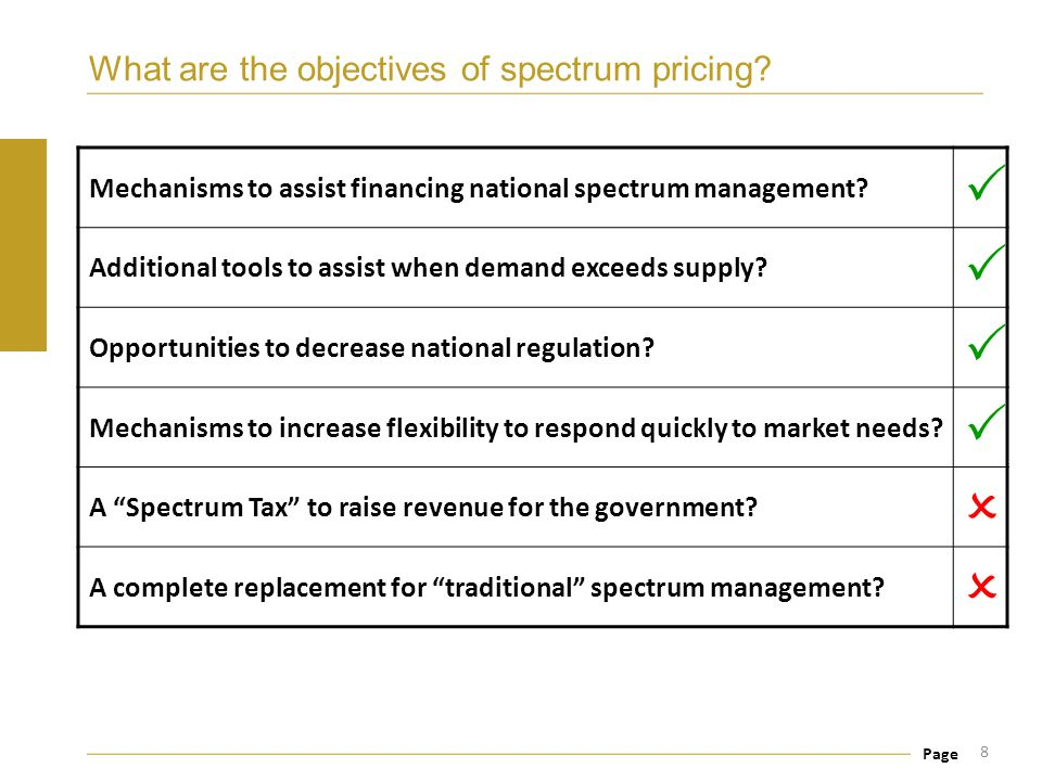Page What are the objectives of spectrum pricing? 8 Mechanisms to assist financing national spectrum management?  Additional tools to assist when dem