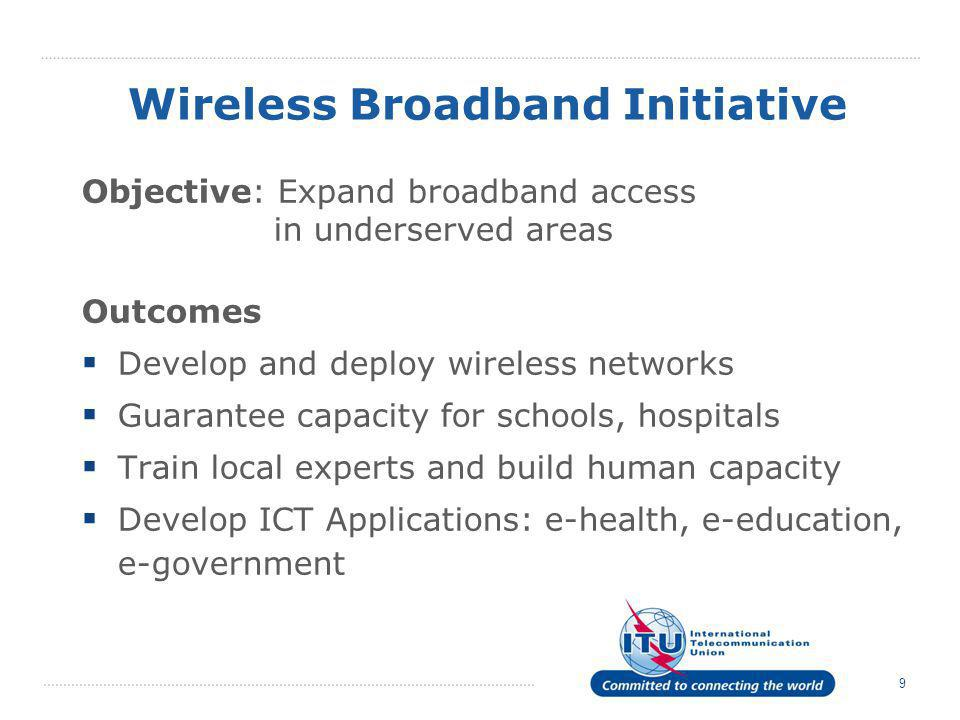 9 Wireless Broadband Initiative Objective: Expand broadband access in underserved areas Outcomes  Develop and deploy wireless networks  Guarantee ca