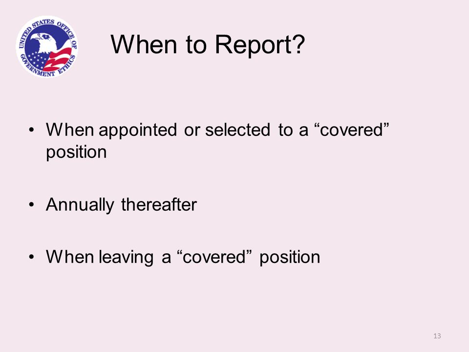 When to Report.