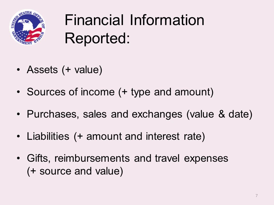 Non-financial Information Reported: Positions held (what type, with whom and when) Agreements and arrangements with past or future employers Names of clients (for first-time filers typically coming from private sector) 8