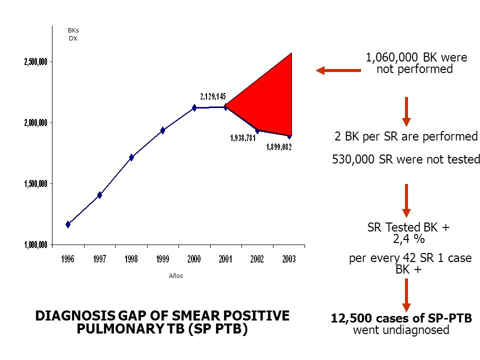 2 BK per SR are performed 530,000 SR were not tested 1,060,000 BK were not performed SR Tested BK + 2,4 % per every 42 SR 1 case BK + 12,500 cases of SP-PTB went undiagnosed DIAGNOSIS GAP OF SMEAR POSITIVE PULMONARY TB (SP PTB) BKs DX Años
