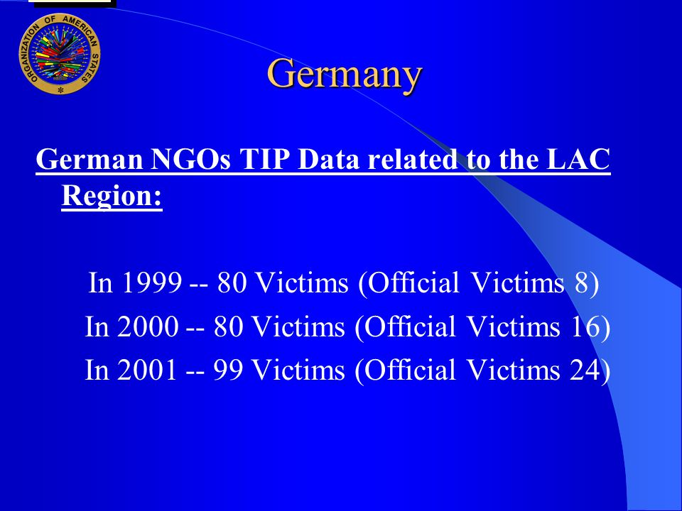 Germany German NGOs TIP Data related to the LAC Region: In 1999 -- 80 Victims (Official Victims 8) In 2000 -- 80 Victims (Official Victims 16) In 2001