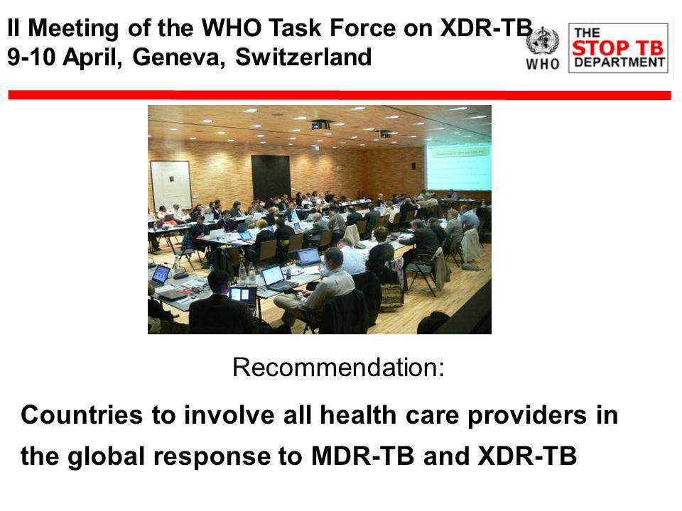 II Meeting of the WHO Task Force on XDR-TB 9-10 April, Geneva, Switzerland Recommendation: Countries to involve all health care providers in the global response to MDR-TB and XDR-TB