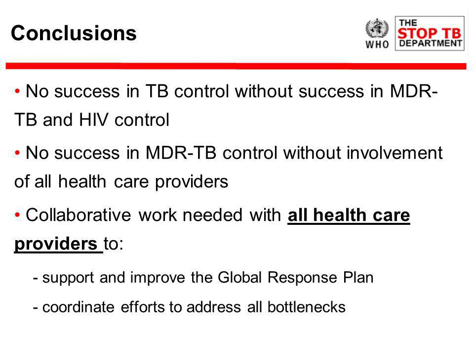 Conclusions No success in TB control without success in MDR- TB and HIV control No success in MDR-TB control without involvement of all health care providers Collaborative work needed with all health care providers to: - support and improve the Global Response Plan - coordinate efforts to address all bottlenecks