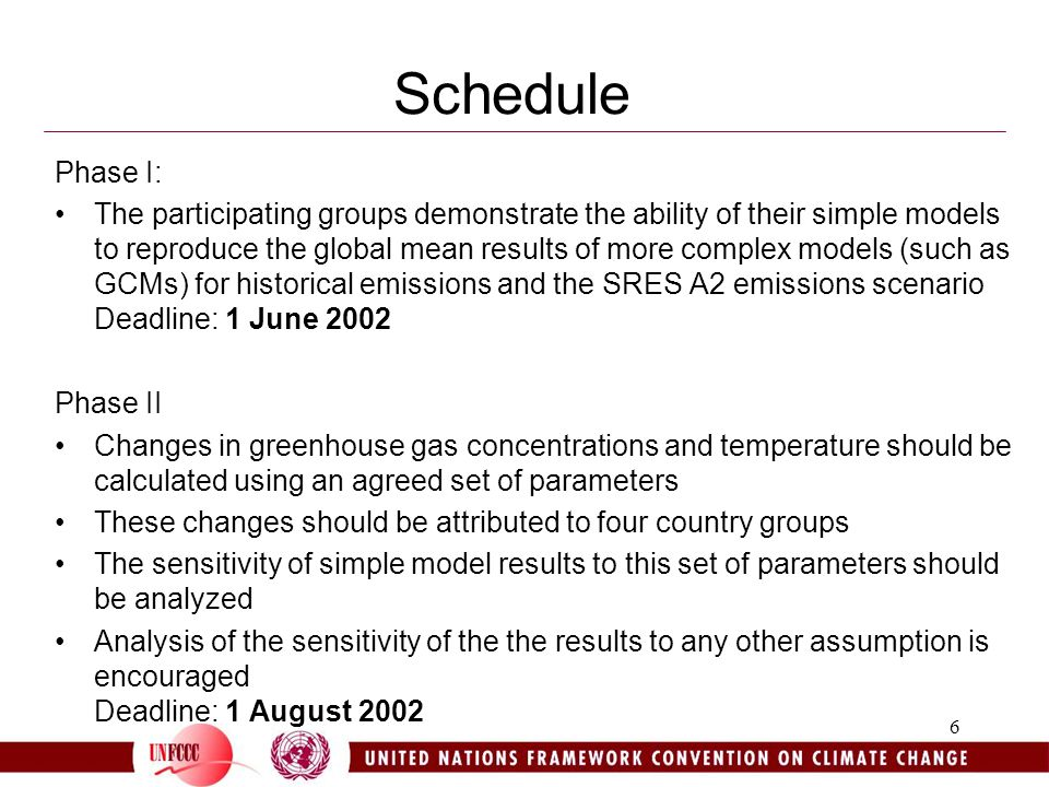6 Schedule Phase I: The participating groups demonstrate the ability of their simple models to reproduce the global mean results of more complex models (such as GCMs) for historical emissions and the SRES A2 emissions scenario Deadline: 1 June 2002 Phase II Changes in greenhouse gas concentrations and temperature should be calculated using an agreed set of parameters These changes should be attributed to four country groups The sensitivity of simple model results to this set of parameters should be analyzed Analysis of the sensitivity of the the results to any other assumption is encouraged Deadline: 1 August 2002