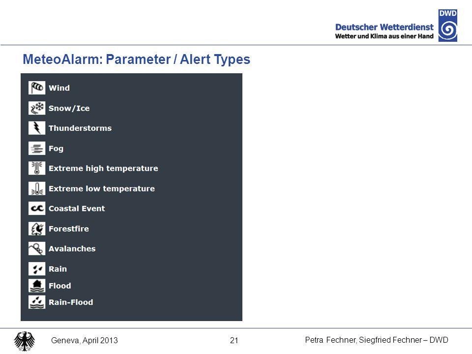 21 Petra Fechner, Siegfried Fechner – DWD Geneva, April 2013 MeteoAlarm: Parameter / Alert Types