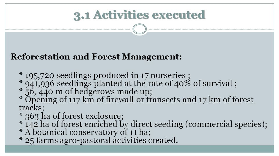 3.1 Activities executed Reforestation and Forest Management: * 195,720 seedlings produced in 17 nurseries ; * 941,936 seedlings planted at the rate of 40% of survival ; * 56, 440 m of hedgerows made ​​ up; * Opening of 117 km of firewall or transects and 17 km of forest tracks; * 363 ha of forest exclosure; * 142 ha of forest enriched by direct seeding (commercial species); * A botanical conservatory of 11 ha; * 25 farms agro-pastoral activities created.
