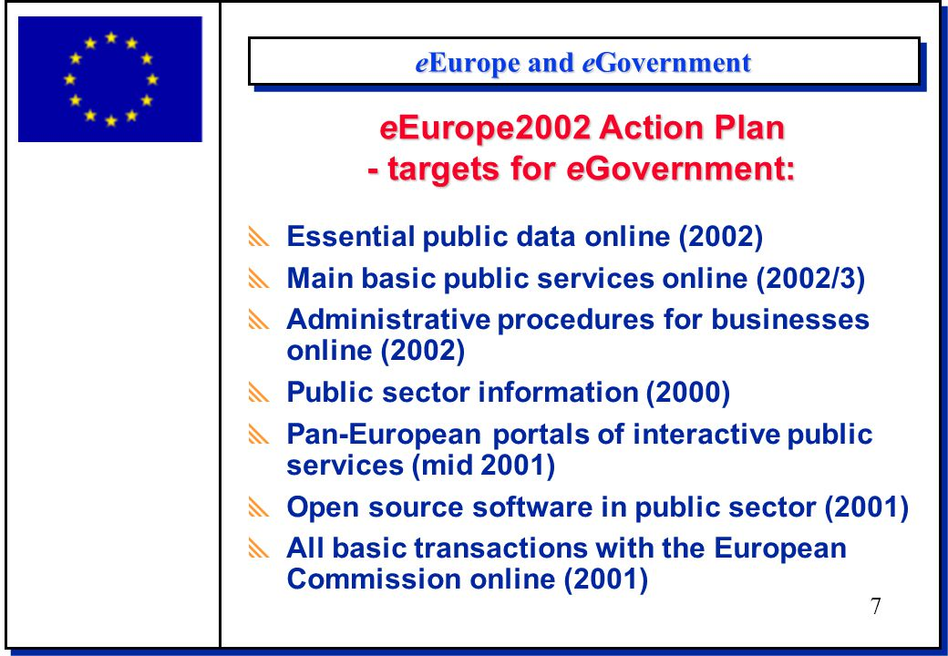 Benchmarking eGovernment The 3-stage model of eGovermnent  Stage 1 Information: online information on public services  Stage 2 Interaction: downloading forms (one-way) and processing of forms, including authentication (two-way)  Stage 3 Transaction: case handling; decision and delivery (payment) 8