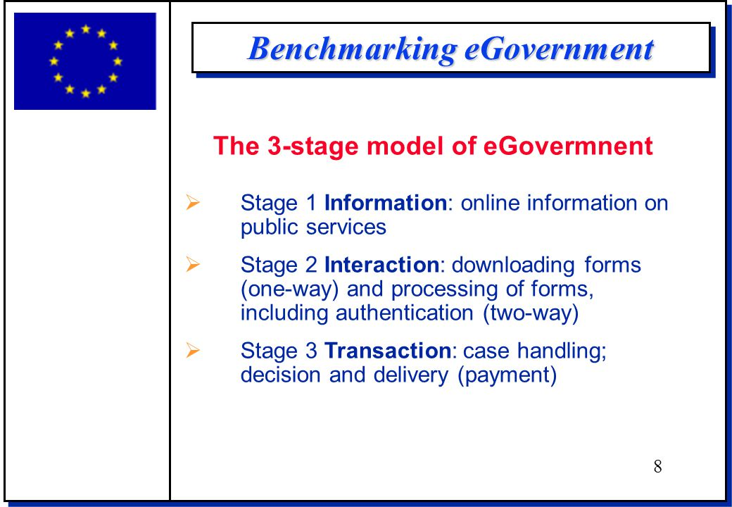 Benchmarking eGovernment The 3-stage model of eGovermnent  Stage 1 Information: online information on public services  Stage 2 Interaction: downloading forms (one-way) and processing of forms, including authentication (two-way)  Stage 3 Transaction: case handling; decision and delivery (payment) 8